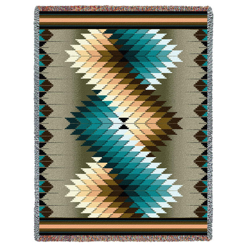 Pure Country Weavers - Whirlwind Smoke Southwest Blanket | Woven Tapestry Camp Throw with Fringe Cotton USA 72x54 Tapestry Throw