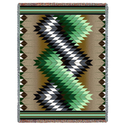 Pure Country Weavers - Whirlwind Sage Southwest Blanket | Woven Tapestry Camp Throw with Fringe Cotton USA 72x54 Tapestry Throw