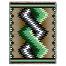 Whirlwind - Sage - Southwest Native American Inspired Tribal Camp - Cotton Woven Blanket Throw - Made in the USA (72x54) Tapestry Throw