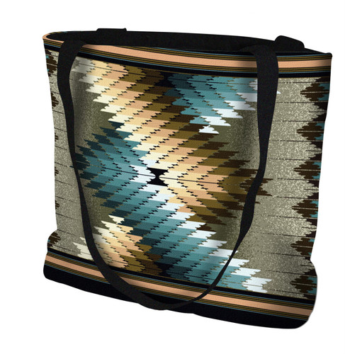 Whirlwind Smoke Hand Finished Large Woven Tote Bag Cotton USA by Artisan Textile Mill Pure Country Weavers Tote Bag