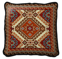 Kilim Textured Hand Finished Elegant Woven Throw Pillow Cover 100% Cotton Made in the USA Size Large17x17 Pillow