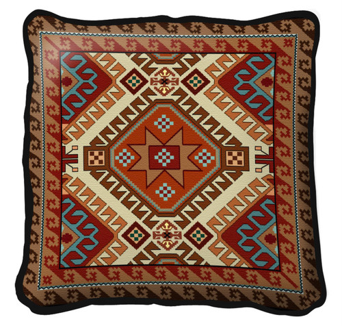 Kilim Hand Finished single sided Woven Pillow Cover.  100% Cotton Made in the USA.  Size  Large17 x 17 Woven to Last a Lifetime Pillow