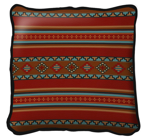 Saddle blanket Red Hand Finished single sided Woven Pillow Cover.  100% Cotton Made in the USA.  Size  Large17 x 17 Woven to Last a Lifetime Pillow