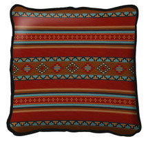 Saddle blanket Red Textured Hand Finished Elegant Woven Throw Pillow Cover 100% Cotton Made in the USA Size Large17x17 Pillow