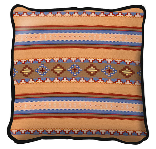 Saddle blanket Sky Textured Hand Finished Elegant Woven Throw Pillow Cover 100% Cotton Made in the USA Size 17x17 Large Pillow