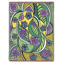 Pure Country Weavers - The Garden Woven Large Soft Comforting Throw Blanket With Artistic Textured Design Cotton USA 72x54 Tapestry Throw