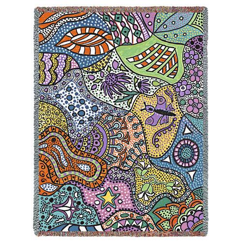 Floral Lace by Helen Kiebzak Tapestry Throw