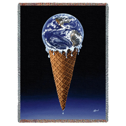 Surreal World Ice Cream Scoop Unique Woven Throw Blanket 100% Cotton Made in USA 72x54 Tapestry Throw