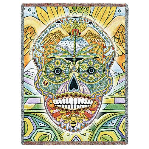 Sugar Skull Native American Pacific Northwest Totem Sue Coccia Tapestry Throw
