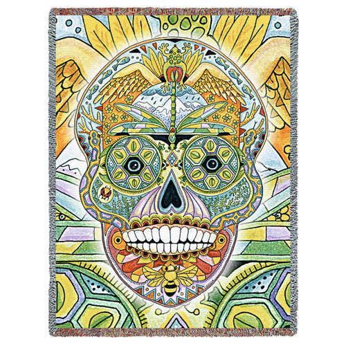Sugar Skull Blanket, Native American Style Colorful Skull Throw Blanket, Pacific Northwest Totem by Sue Coccia – Woven Skull Large Soft Comforting w/ Cotton Fringe (72x54) Made in USA Tapestry Throw