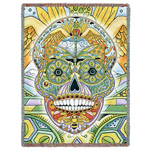 Sugar Skull Blanket, Native American Style Colorful Skull Throw Blanket, Pacific Northwest Totem by Sue Coccia – Woven Skull Tapestry w/ Cotton Fringe (72x54) Made in USA Tapestry Throw
