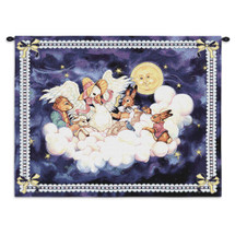 Mother Goose by Donna Race | Woven Tapestry Wall Art Hanging | Whimsical Nursery Rhyme Animals with Baby in the Stars | 100% Cotton USA Size 33x26 Wall Tapestry
