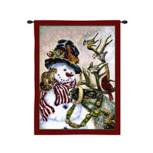 Snowman and Prancer | Woven Tapestry Wall Art Hanging | Snowy Christmas Decor with Santa's Reindeer | 100% Cotton USA Size 32x27 Wall Tapestry