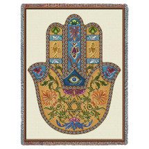 Pure Country Weavers - Hamsa Protection Woven Blanket - Hand of Mary Fatima Goddess Miriam Hippie Large Soft Comforting Cotton USA 72x54 Tapestry Throw