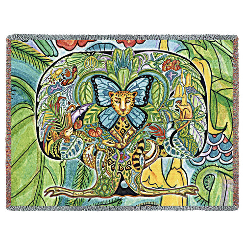 Tree of Life Blanket, Native American Style Colorful Throw Blanket, Pacific Northwest Totem Design by Sue Coccia – Woven Tree of Life Tapestry w/ Cotton Fringe (72x54) Made in USA Tapestry Throw