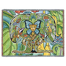 Tree of Life Blanket, Native American Style Colorful Throw Blanket, Pacific Northwest Totem by Sue Coccia – Woven Tree of Life Large Soft Comforting w/ Cotton Fringe (72x54) Made in USA Tapestry Throw
