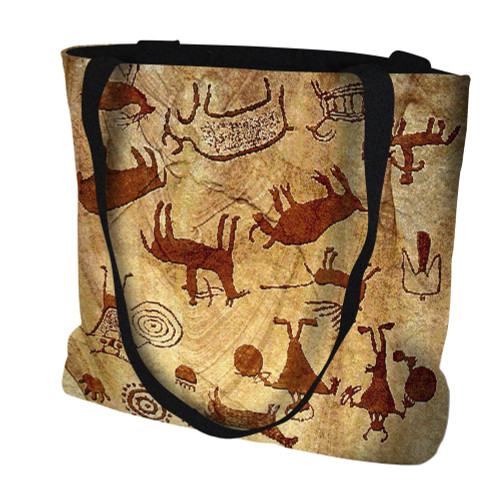 Rock Art of the Ancients Hand Finished Large Woven Tote or Shoulder Bag with Magnetic Clasp 100% Cotton Double Sided Made in USA by Artisan Textile Mill Pure Country Weavers Tote Bag