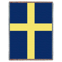 Sweden Flag - Cotton Woven Blanket Throw - Made in the USA (72x54) Tapestry Throw