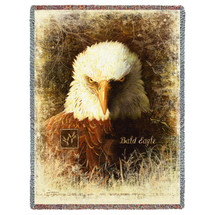 American Bald Eagle Throw Blanket Large Woven From Cotton Made in the USA 72x54 Tapestry Throw