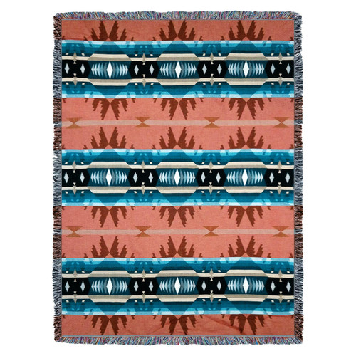 Pure Country Weavers | Cimarron Agate Southwest Blanket | Woven Tapestry Camp Throw with Fringe Cotton USA 72x54 Tapestry Throw