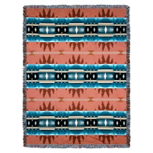 Cimarron - Agate - Southwest Native American Inspired Tribal Camp - Cotton Woven Blanket Throw - Made in the USA (72x54) Tapestry Throw