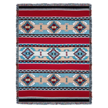 Rimrock - Red - Southwest Native American Inspired Tribal Camp - Cotton Woven Blanket Throw - Made in the USA (72x54) Tapestry Throw