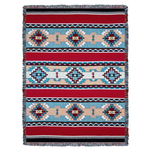 Large Southwest Blanket 100% Cotton Woven Large Soft Comforting , Iconic Fringe Design, Native American Inspired Pattern, Tribal Camp Throw Made in USA (72x54) Tapestry Throw