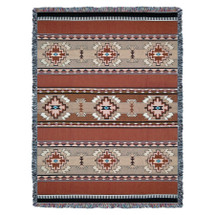 Rimrock - Sandstone - Southwest Native American Inspired Tribal Camp - Cotton Woven Blanket Throw - Made in the USA (72x54) Tapestry Throw