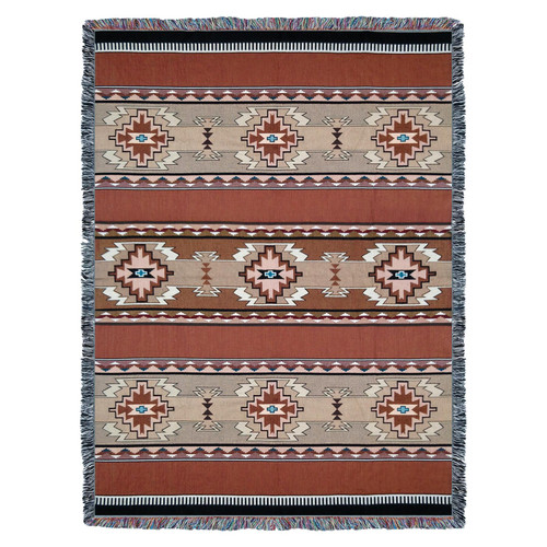 Pure Country Weavers - Rimrock Sandstone Southwest Blanket | Woven Tapestry Camp Throw with Fringe Cotton USA 72x54 Tapestry Throw