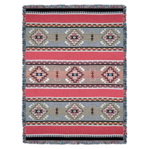 Rimrock - Dusk - Southwest Native American Inspired Tribal Camp - Cotton Woven Blanket Throw - Made in the USA (72x54) Tapestry Throw