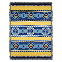 Rimrock - Sun - Southwest Native American Inspired Tribal Camp - Cotton Woven Blanket Throw - Made in the USA (72x54) Tapestry Throw