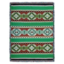 Rimrock - Spring - Southwest Native American Inspired Tribal Camp - Cotton Woven Blanket Throw - Made in the USA (72x54) Tapestry Throw