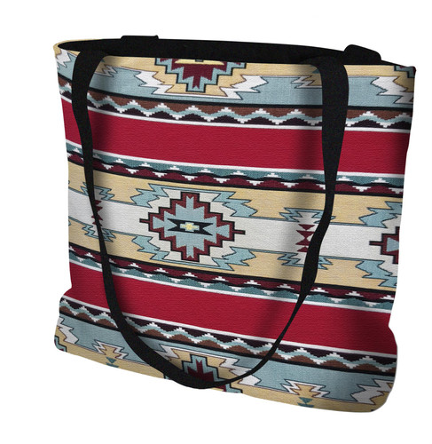 Rimrock Red Hand Finished Large Woven Tote or Shoulder Bag with Magnetic Clasp 100% Cotton Double Sided Made in USA by Artisan Textile Mill Pure Country Weavers Tote Bag