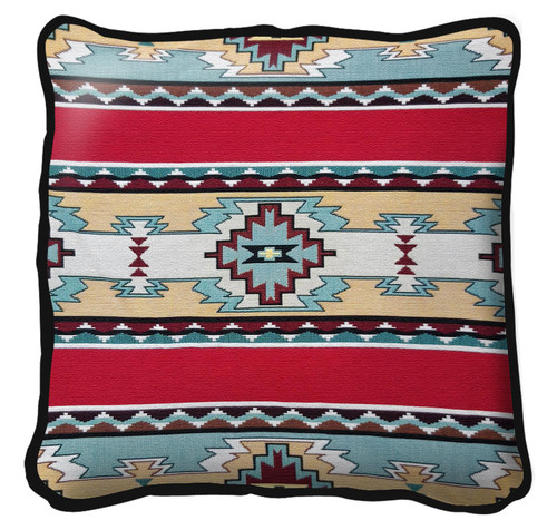 Rimrock Red Hand Finished single sided Woven Pillow Cover.  100% Cotton Made in the USA.  Size 17 x 17 Woven to Last a Lifetime Pillow