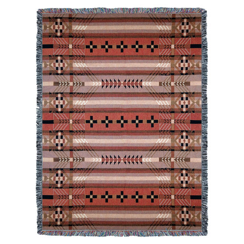 Large Southwest Blanket 100% Cotton, Soft Woven Tapestry, Iconic Fringe Design, Native American Inspired Pattern, Tribal Camp Throw Made in USA (72x54) Tapestry Throw