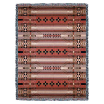 Antelope Ridge - Earth - Southwest Native American Inspired Tribal Camp - Cotton Woven Blanket Throw - Made in the USA (72x54) Tapestry Throw