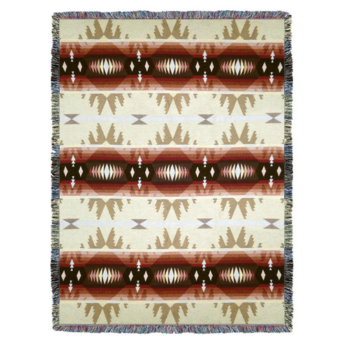 Pure Country Weavers | Cimarron Southwest Blanket | Woven Tapestry Camp Throw with Fringe Cotton USA 72x54 Tapestry Throw