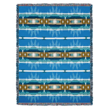 Cimarron - Turquoise - Southwest Native American Inspired Tribal Camp - Cotton Woven Blanket Throw - Made in the USA (72x54) Tapestry Throw
