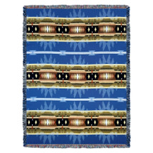 Cimarron - Blue - Southwest Native American Inspired Tribal Camp - Cotton Woven Blanket Throw - Made in the USA (72x54) Tapestry Throw