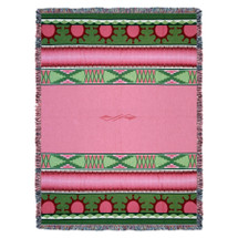 Concho Springs - Rose - Southwest Native American Inspired Tribal Camp - Cotton Woven Blanket Throw - Made in the USA (72x54) Tapestry Throw