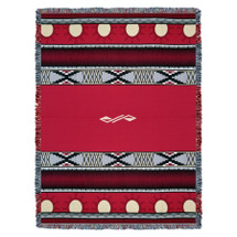 Concho Springs - Red - Southwest Native American Inspired Tribal Camp - Cotton Woven Blanket Throw - Made in the USA (72x54) Tapestry Throw