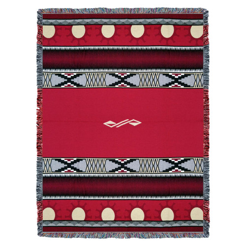 Pure Country Weavers | Concho Springs Red Southwest Blanket | Woven Tapestry Camp Throw with Fringe Cotton USA 72x54 Tapestry Throw