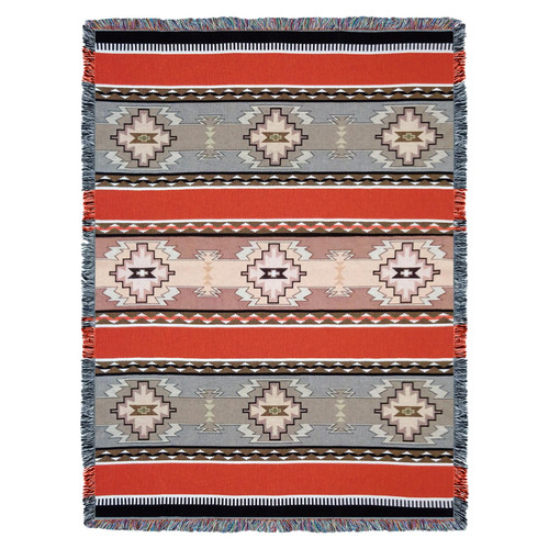 Rimrock -Dusk 2 - Southwest Native American Inspired Tribal Camp - Cotton Woven Blanket Throw - Made in the USA (72x54) Tapestry Throw