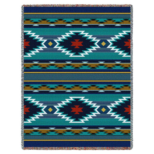 Pure Country Weavers | Balpinar Southwest Blanket | Woven Throw with Fringe Cotton USA 72x54 Tapestry Throw
