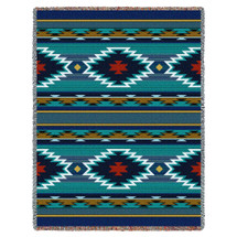 Pure Country Weavers - Balpinar Southwest Blanket   Woven Tapestry Camp Throw with Fringe Cotton USA 72x54 Tapestry Throw