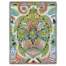 Sea Turtle - Animal Spirits Totem - Sue Coccia - Cotton Woven Blanket Throw - Made in the USA (72x54) Tapestry Throw