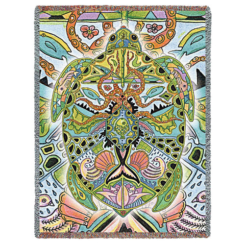 Sea Turtle Blanket, Native American Style Colorful Reptile Throw Blanket, Pacific Northwest Totem by Sue Coccia – Woven Marine Sea Turtle Tapestry w/ Cotton Fringe (72x54) Made in USA Tapestry Throw