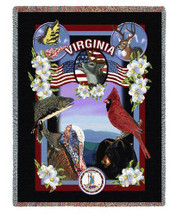 State Of Virginia Tapestry Throw Blanket with Fringe by Artisan Textile Mill Pure Country Weavers Cotton USA 72x54 Tapestry Throw