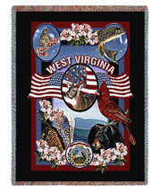 State of West Virginia - Dwight D Kirkland - Cotton Woven Blanket Throw - Made in the USA (72x54) Tapestry Throw
