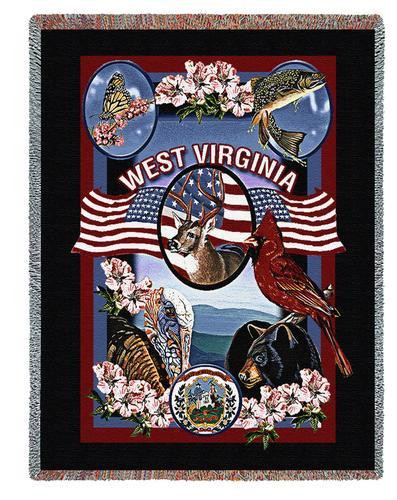 State Of West Virginia Tapestry Throw Blanket with Fringe by Artisan Textile Mill Pure Country Weavers Cotton USA 72x54 Tapestry Throw